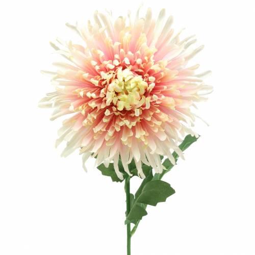 Chryzantema gałązka kwitnąca różowa sztuczna 64cm