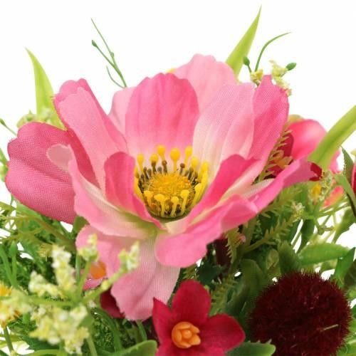 Bukiet dekoracyjny Cosmea i Snowball w pęczku sztuczny różowy Asortyment H18cm