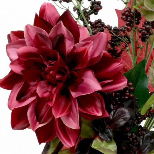 Bukiet dekoracyjny sztuczny z dalią i jagodami fioletowy 45cm