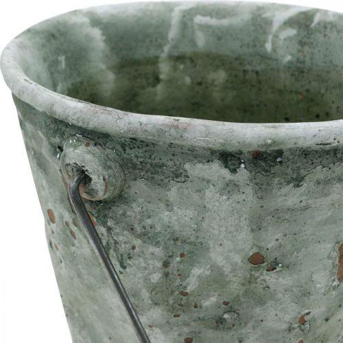 Wiadro na rośliny, dekoracja ogrodu, ceramiczne wiadro, sadzarka antyczny wygląd Ø16cm H13,5cm