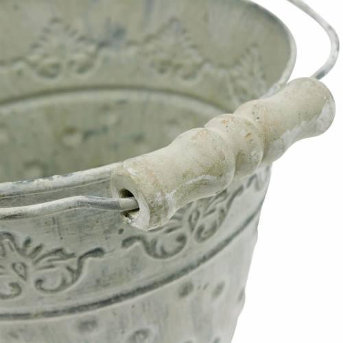 Donica ozdobna, metalowa w kropki, zielona Ø15,5 cm, biała myta