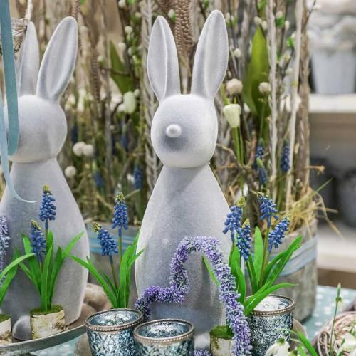 Zajączek dekoracyjny szary flokowany 47cm Dekoracja Wielkanocna Zajączek Wielkanocny