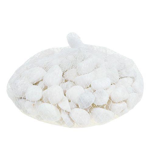 Kamyczki dekoracyjne w siatce białe 1cm - 2,5cm 1kg