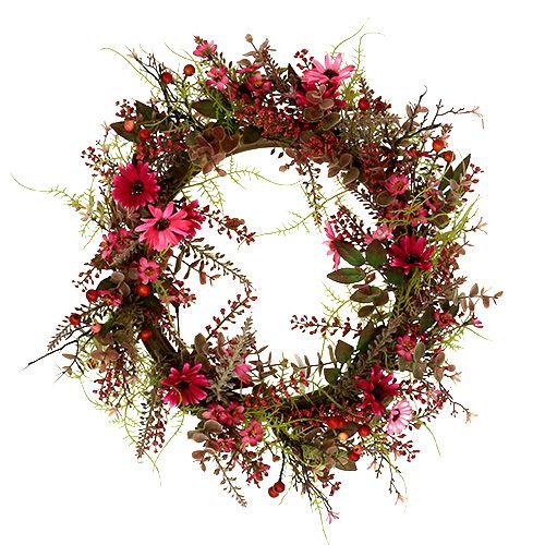 Wianek dekoracyjny z jagodami Ø25cm Różowy