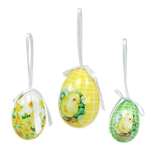 Jajka ozdobne do zawieszania żółto-zielone 5-8cm 8szt