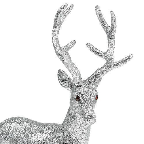 Jeleń Deco srebro, mika wys. 32cm szer. 25cm