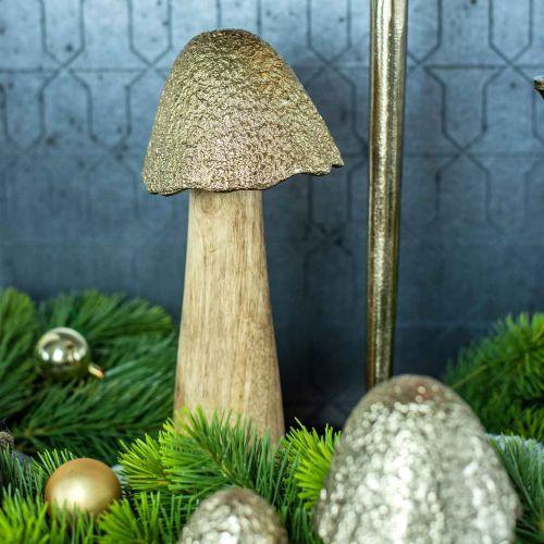 Deco Grzyb Duży Metal Drewno Złoto, Natura Deco Figura Jesień 32cm