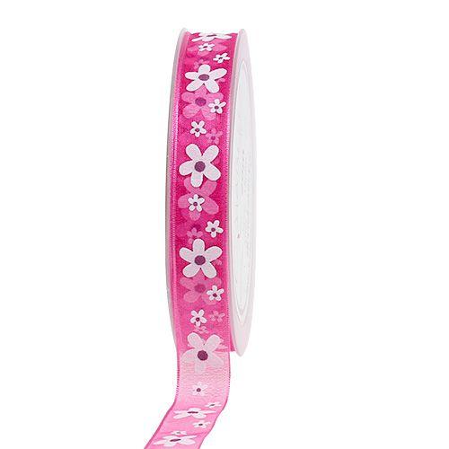 Wstążka dekoracyjna różowa z motywem kwiatowym 15mm 20m