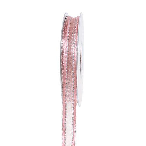 Wstążka dekoracyjna różowa z lureksowymi paskami w kolorze srebrnym 15mm 20m