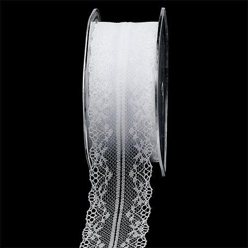 Wstążka dekoracyjna koronka biała 40mm 20m