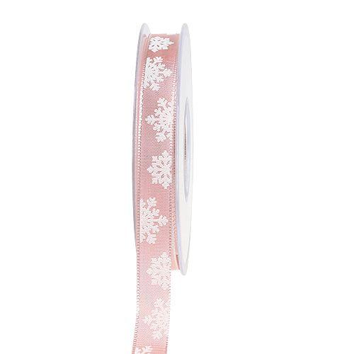 Wstążka dekoracyjna z drucianym brzegiem różowa 15mm 20m