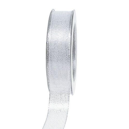 Wstążka dekoracyjna z lureksowymi paskami srebrna 25mm 20m