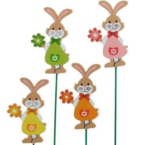 Wtyczka dekoracyjna króliczek wielkanocny z kwiatkiem dekoracja wielkanocna drewniany króliczek na patyku 24szt.