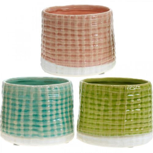 Doniczki dekoracyjne z motywem koszyczka, doniczka ceramiczna miętowa/zielona/różowa Ø13cm 3szt.