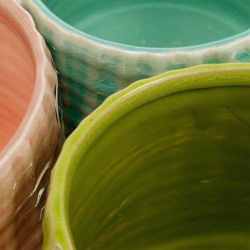 Ceramiczna doniczka, mini doniczka, dekoracja ceramiczna, dekoracyjny kosz na rośliny wzór miętowy/zielony/różowy Ø7,5cm 6szt.