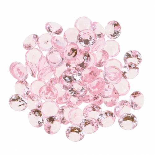 Kamienie dekoracyjne diament akrylowy jasnoróżowy Ø1,2cm 175g do dekoracji urodzinowych
