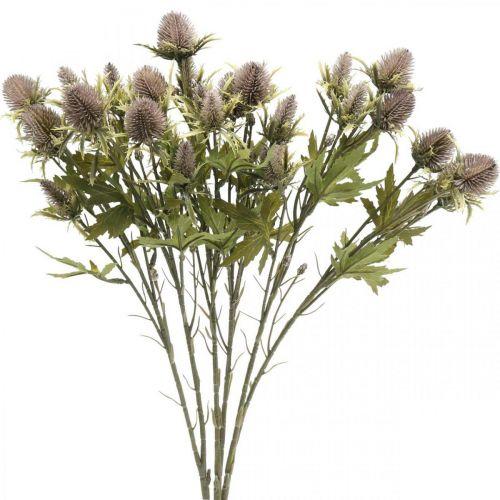 Oset Sztuczny Fioletowy Gałązka Dekoracyjna 10 Główek Kwiatów 68cm 3szt.