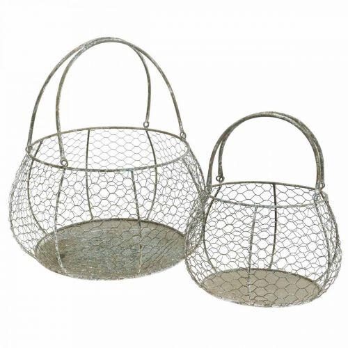 Kosz Shabby Chic Wire Mesh Basket Garden Deco Ø37/26cm Zestaw 2 szt.