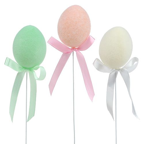 Jajko jak wtyczka 5,5 cm flokowane pastelowe 12szt
