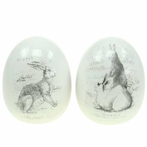 Jajko ceramiczne białe króliczek Ø12,5cm H16cm 2szt.