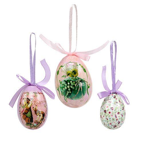 Jajka z wzorem fioletowo-różowym 5-8cm 8szt