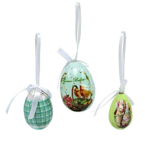 Jajka do zawieszenia na zielono. 5-8 cm 8 szt
