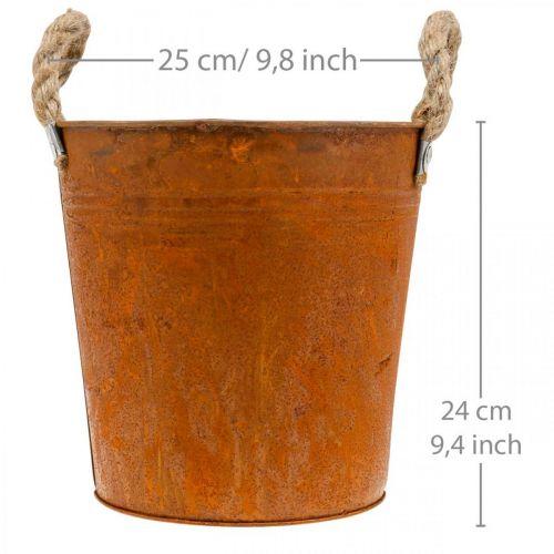 Doniczka z uchwytami, sadzarka, naczynie metalowe z rdzawym zdobieniem Ø25cm H24cm