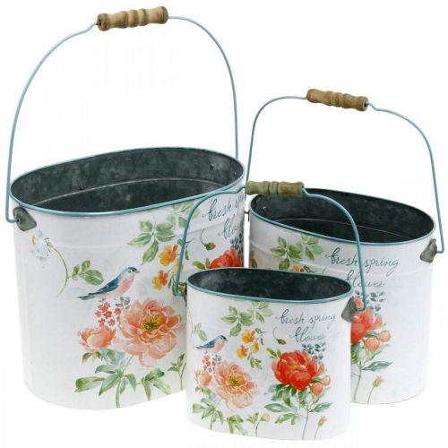 Wiadro na rośliny Oval Vintage Spring Decoration Planter Metal 26/22/17cm Zestaw 3
