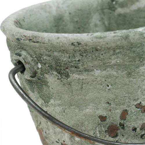 Wiaderko do sadzenia roślin, naczynie ceramiczne, dekoracja wiaderka antyczny wygląd Ø11,5cm H10,5cm 3szt.
