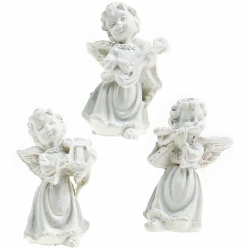 Aniołek ozdobny z instrumentami biały W4,5cm 9szt