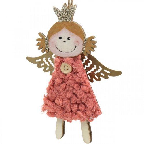 Wiszący anioł, dekoracja świąteczna, ozdoba choinkowa Pink/Pink/Blue/White H12cm Set of 4