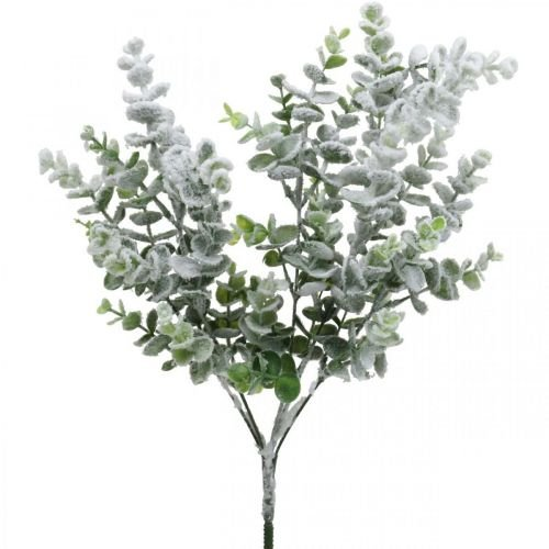 Sztuczny Eukaliptus Gałązka Śnieżny Dekoracyjna Gałązka Eukaliptus Boże Narodzenie 48cm