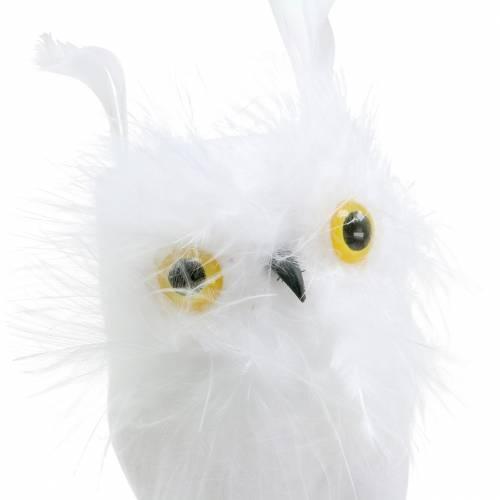 Korek dekoracyjny sowa biały 10cm 2szt.