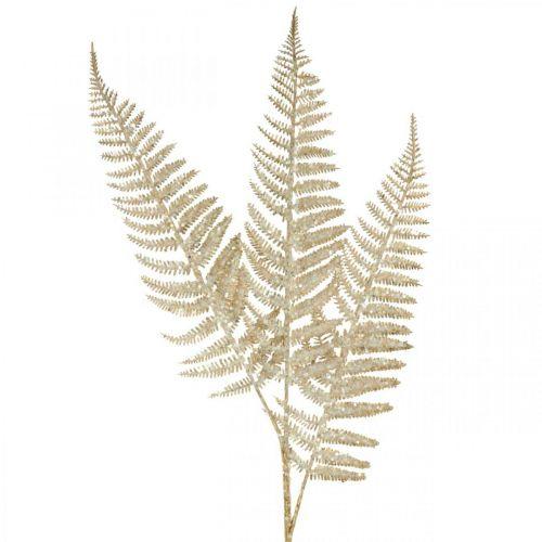 Deco Fern Artificial Plant Gold, Glitter Christmas Decoration 74cm
