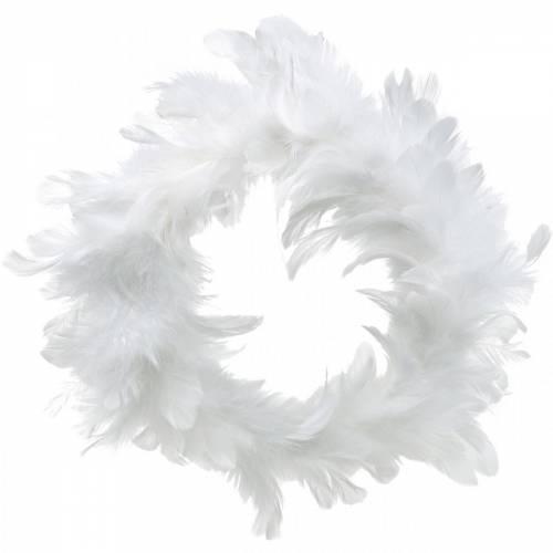 Wianek z białych piór Deco Ø25cm Dekoracja Wielkanocna Prawdziwe Pióra