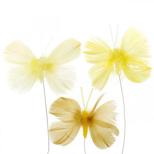 Motylki dekoracyjne na druciku, dekoracja wiosenna, motylki z piór w odcieniach żółtego 6szt.
