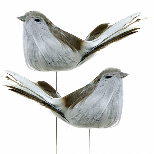 Ptaszek z piór na druciku szary 12cm 4szt.