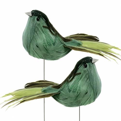 Piórka ptaszek na druciku zielone 12cm 4szt.