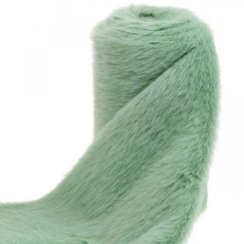 Deco Fur Ribbon Green Faux Fur Mint Fur Bieżnik Stołowy 15×150cm