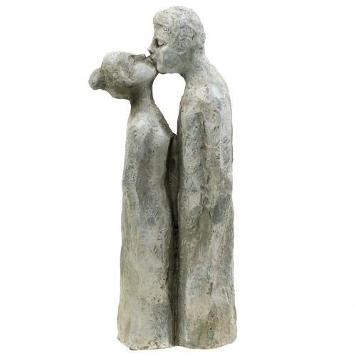 Figura dekoracyjna całująca się para kamień lany 40cm