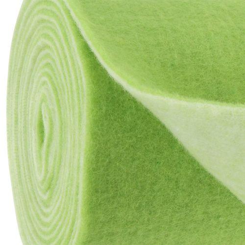 Taśma filcowa 15cm x 5m dwukolorowa zielona, biała