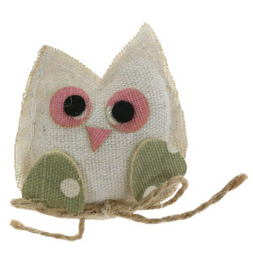 Tkanina dekoracyjna sowa 6cm różowa/zielona/biała 6szt.