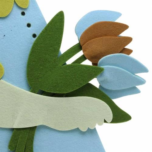 Duży Zając Wielkanocny Filcowy Kremowy, Jasnoniebieski, 44cm H101cm Dekoracja Okienna