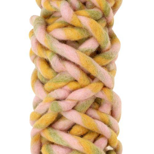 Sznurek filcowy 25m różowy, żółty, zielony
