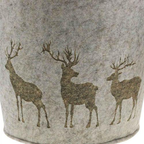 Dekoracje świąteczne Kosz filcowy okrągły Jeleń Planter 38cm/30cm Zestaw 2