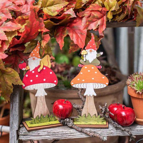 Muchomor na jesień, dekoracja drewniana, skrzat na grzybie pomarańczowy/czerwony H21/19,5cm 4szt.