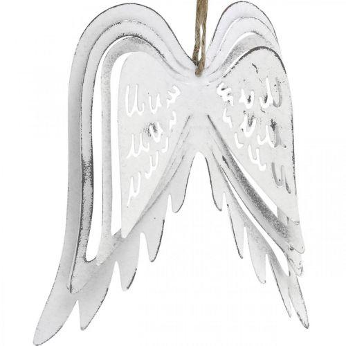 Skrzydła Anioła do powieszenia, dekoracja świąteczna, metalowa zawieszka biała wys. 11,5cm szer. 11cm 3szt.