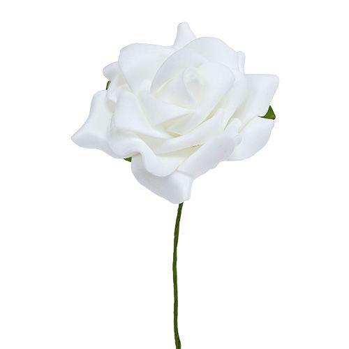Róża piankowa Ø 7,5cm Biała 18szt