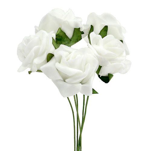 Róża piankowa Ø 3,5cm biała 48szt.