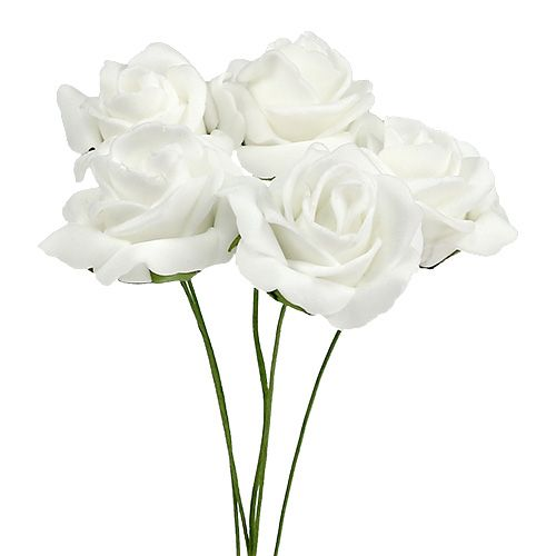 Róża piankowa Ø4,5cm biała 36szt